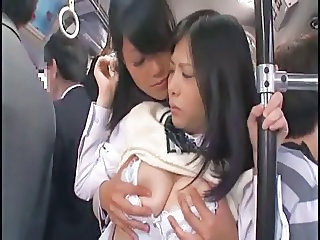 Student Old and Young Asian Asian Lesbian Bus + Asian Bus + Public