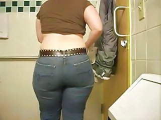 Bathroom Mature Jeans