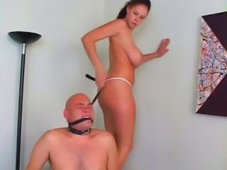 Hot Busty Brunette Gets Her Slave To Do What She Wants And Sits On His Face