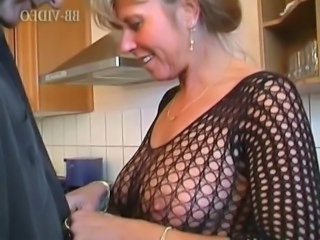 Lingerie Kitchen Mom Fishnet German Mature German Mom