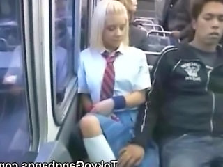 White Schoolgirl in Japan Bus