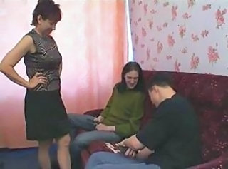 Russian mature mom and friends her son& 039;s! Amateur!