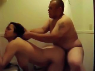 Chubby girlfriend gets bent over and fucked in the bathroom