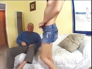 Gorgeous brunette milf loves to suck older man',s cock before riding it on couch