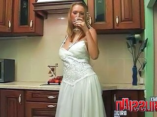 Bride Drunk Kitchen Russian Milf