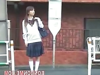 Schoolgirl Dalliance On Bus