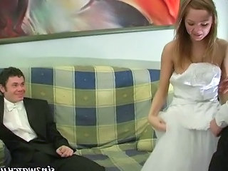 Sexy Bride Gets Fucked By Two Groomsmen