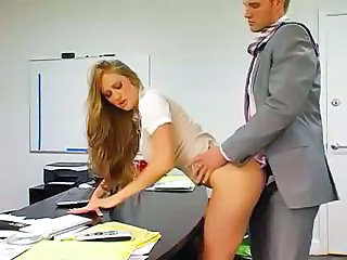 Babe Secretary Office Boss Busty Babe Clothed Fuck