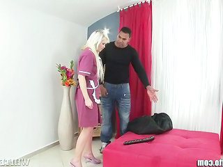 Maid Uniform Blonde Dildo Milf