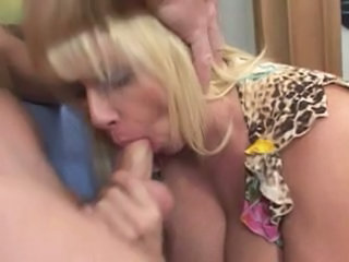 Old busty blonde granny and m...