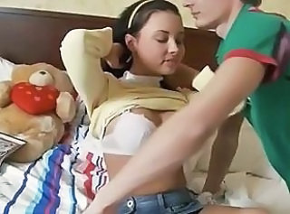Tiny teen used by two big dicks