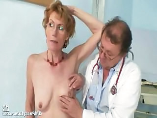 Old lady Mila visiting gyno doctor for pussy speculum examination on gynochair