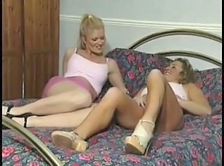 British lesbians nurses play on the bed and sofa