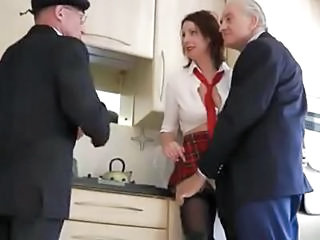 Daddy Kitchen  Old And Young Student Uniform Daddy Dirty Old And Young Schoolgirl