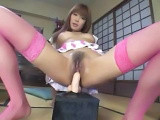Beautiful short-heeled wench with a yummy gange loves her toys