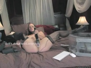 Busty slut spanking herself and playing dirty in webcam bondage solo self fucking for the pleasure of the nasty master