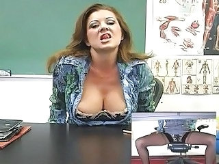 Horny and classy teacher masturbates in front of the class