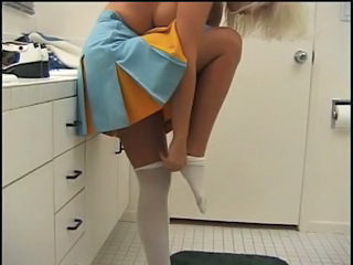 Cheerleader chick in action with big cock