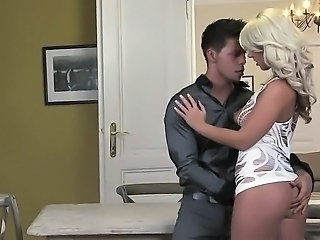 Hot blonde fucks dude with strap on toy