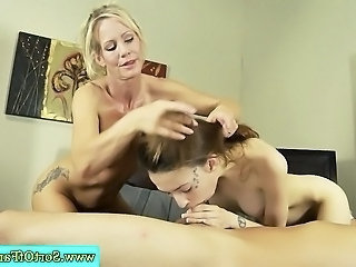MILF teaching step daughter how to suck cock