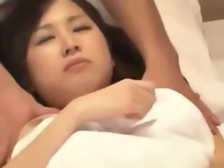 2 Office Ladies Massaged Getting Their Hairy Pussy Fingered And Fucked By 2 Masseurs On The Massage Bed