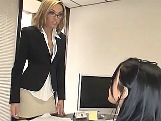 Office Threesome Babe Babe Ass FFM Office Babe