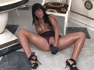 Busty Horny Slut Working On A Huge Dildo