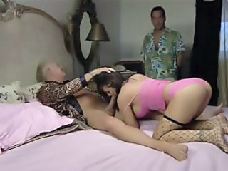 Hot girl in Pink dress gets young and old cocks