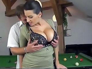 Big titted milf hot sex scene on pool table