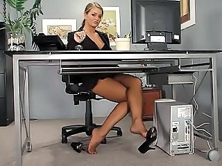 Legs Feet Secretary Office Babe Stockings