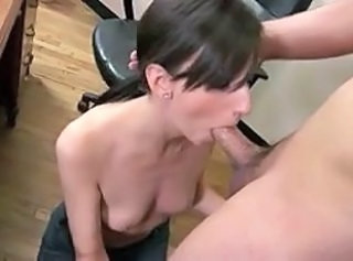 Skinny Secretary Katie give a nice blowjob