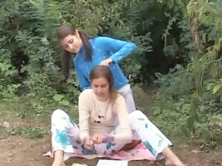 Chick Amateurs Playing In The Forest