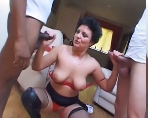 Hot Horny British Milf Fucks Two Young C...