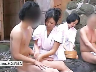 Rare Outdoors Japanese Group Mixed Bathi...