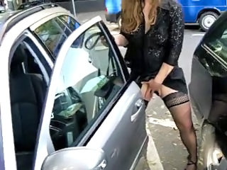 Girl touch her pussy in public