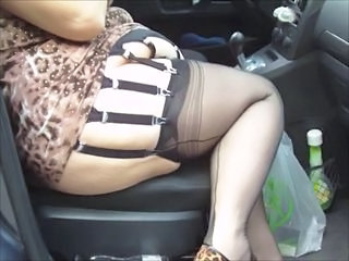 BBW Car Stockings Bbw Amateur Bbw Wife Stockings