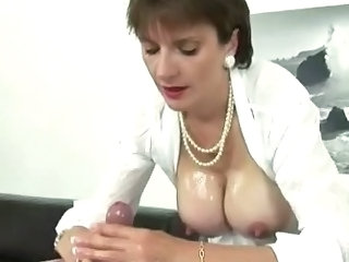 Oiled British European British Mature British Milf Handjob Cock