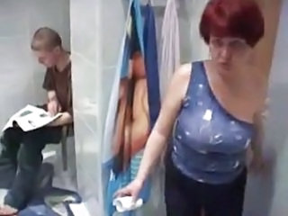 Mom Toilet Redhead Mature Young Boy  Old And Young