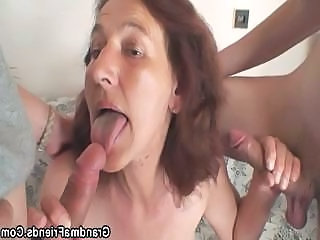 Old bitch is banged by two young painters