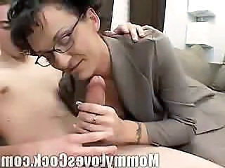 Mature brunette sucks and gets it