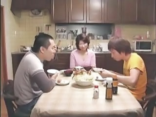 Family Mom Old And Young Asian Mature Family Kitchen Mature