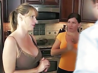 Mom Threesome Kitchen Milf Threesome Threesome Milf