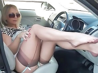 Car Feet Legs Flashing Milf Stockings Stockings