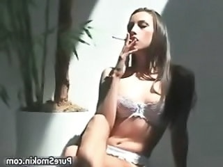 Smoking Babe Lingerie Babe Ass