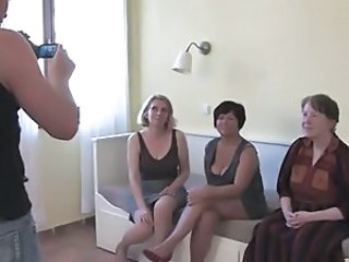 3 Grannies Suck and Fuck a Young Cock and Each Other