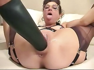 Dildo Close up Toy Glasses Mature Housewife Masturbating Mature
