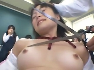 Forced Student Asian Asian Teen Classroom Forced