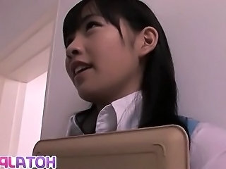 Young Japanese secretary enjoys her first day