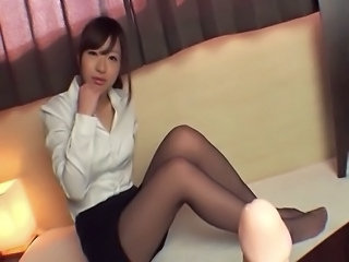 the innocent japanese pornstar wears nylon pantyhose practice her footjob...