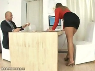 Secretary Office Skirt Foot Footjob Office Babe
